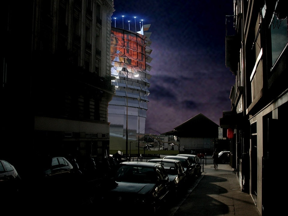 Repère olympique Paris 2012 tower Bianchini & Lusiardi Associati 01 night