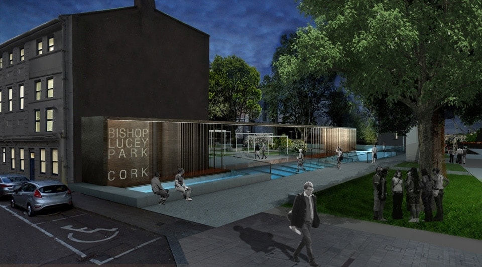 Bianchini-e-Lusiardi-associati-progetto-parco-Bishop-Lucey-park-Cork-ingresso-entrance-from-Gran-Parade